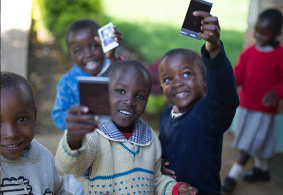 Girls were excited to receive Polaroid images of themselves