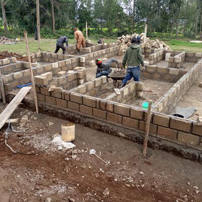 Cement cinder block walls being built