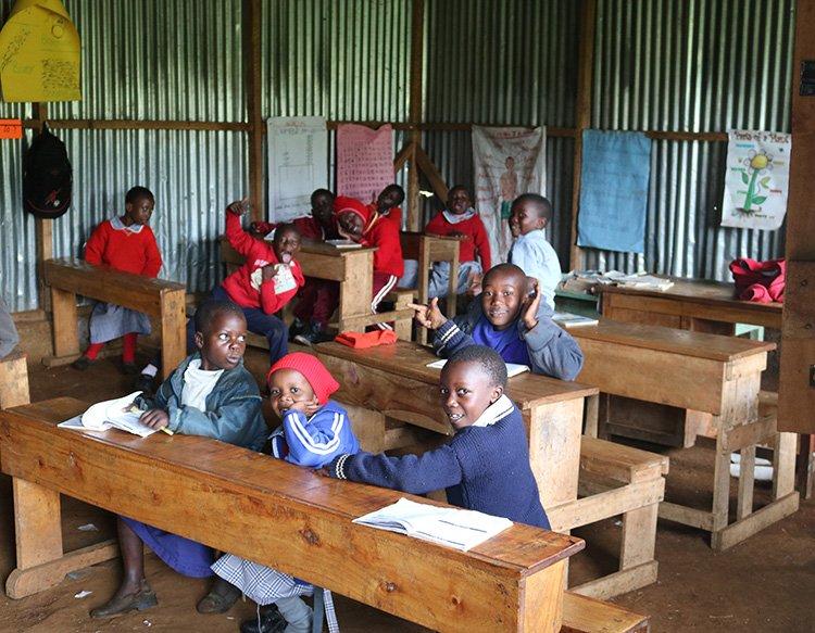 Students sitting in their desks - Kindergarten Class