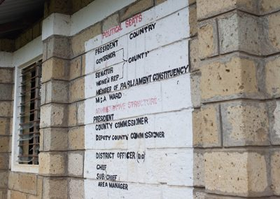 Political Seats of Kenya Structure chart painted on the school complex at Our Lady of Grace School