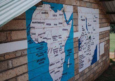 Map of Africa painted on the outside wall of the OLOG Classroom